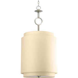 Ashbury Silver Ridge Three-Light Drum Pendant with Toasted Linen Shade