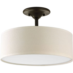 Inspire Antique Bronze Two-Light Semi-Flush Mount with Beige Linen Shade