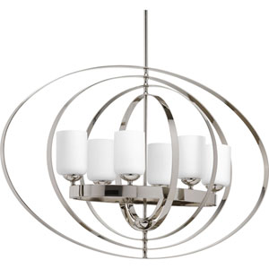 P3940-104 Equino Polished Nickel Six-Light 39-Inch Foyer Pendant