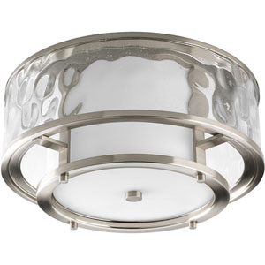 Bay Court Brushed Nickel Two-Light Flush Mount with Distressed Clear Glass Cylinder