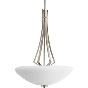 Rave Brushed Nickel Three-Light Bowl Pendant with Opal Etched Glass