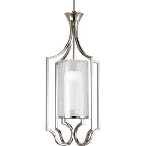 Caress Polished Nickel One-Light 30-Inch Lantern Pendant with Glass Diffuser