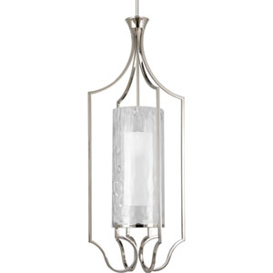 Caress Polished Nickel One-Light 44.75-Inch Lantern Pendant with Glass Diffuser