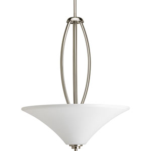 Joy Brushed Nickel 6 x 72-Inch Three-Light Pendant with Etched Glass Bowl
