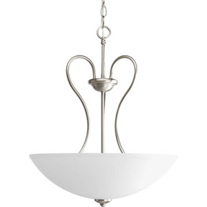Heart Brushed Nickel Three-Light Bowl Pendant with Etched Glass Bowl