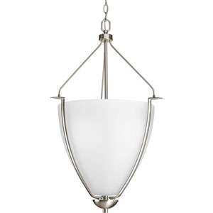 Bravo Brushed Nickel Three-Light Pendant with Etched Glass Bowl