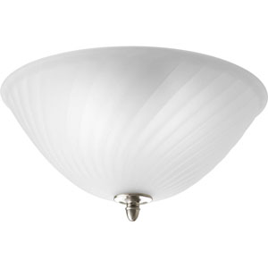 Kensington Brushed Nickel Two-Light Semi-Flush Mount with Swirled Etched Glass Bowl