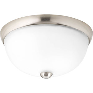 Random Brushed Nickel One-Light Flush Mount with Etched Glass