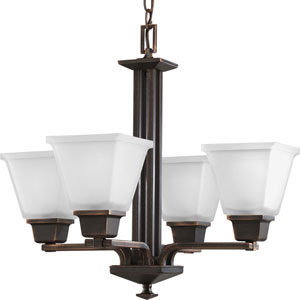 North Park Venetian Bronze Four-Light Chandelier with Etched Glass