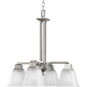 North Park Brushed Nickel Four-Light Chandelier with Etched Glass