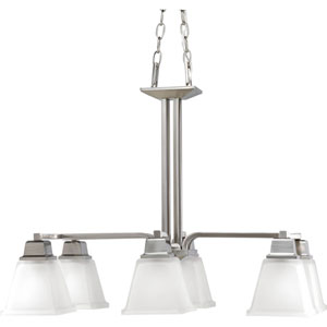 North Park Brushed Nickel Six-Light Chandelier with Etched Glass