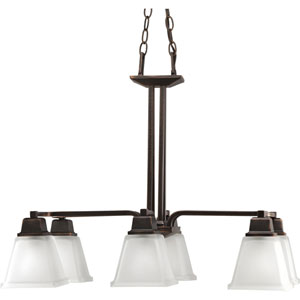 North Park Venetian Bronze Six-Light Chandelier with Etched Glass