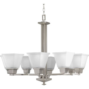 North Park Brushed Nickel Eight-Light Chandelier with Etched Glass