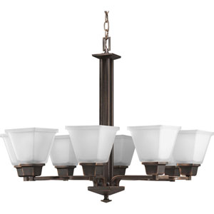 North Park Venetian Bronze Eight-Light Chandelier with Etched Glass