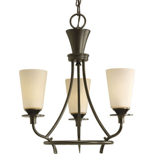 Cantata Forged Bronze Three-Light Chandelier with Seeded Topaz Glass