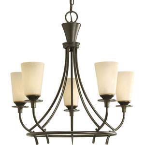 Cantata Forged Bronze Five-Light Chandelier with Seeded Topaz Glass