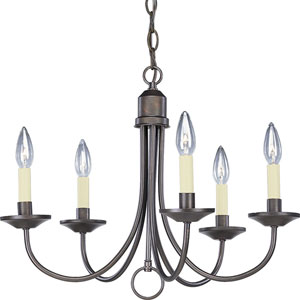 Five Light Antique Bronze Five-Light Chandelier with Matching Hand Painted Candle Sleeves
