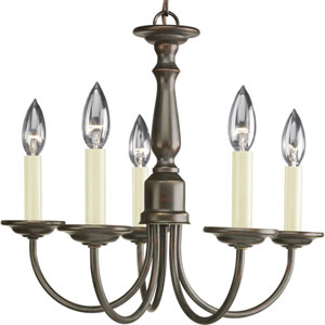 Five Light Antique Bronze Five-Light Chandelier with Ivory Finish Candle Sleeves
