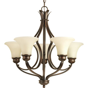 P4036-20 Applause Antique Bronze Five-Light 24.5-Inch Chandelier