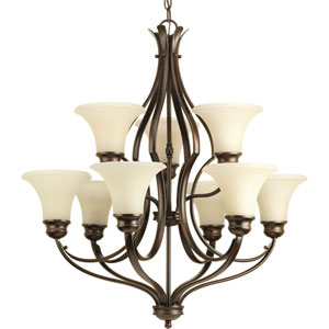 P4037-20 Applause Antique Bronze Nine-Light 29.5-Inch Chandelier