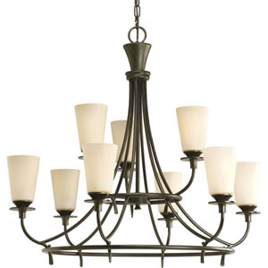 Cantata Forged Bronze Nine-Light Chandelier with Seeded Topaz Glass