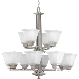 North Park Brushed Nickel 12-Light Chandelier with Etched Glass
