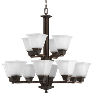 North Park Venetian Bronze 12-Light Chandelier with Etched Glass