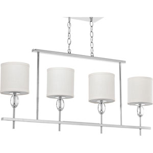 P4138-15 Status Polished Chrome 38-Inch Four-Light Linear Chandelier