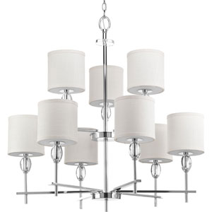 P4142-15 Status Polished Chrome Nine-Light 32-Inch Chandelier