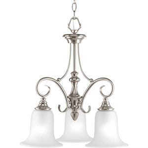 Kensington Brushed Nickel Three-Light Chandelier with Swirled Etched Glass and Trumpet Shaped Shades