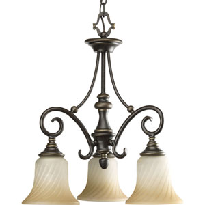 Kensington Forged Bronze Three-Light Chandelier with Frosted Caramel Swirl Glass and Trumpet Shaped Shades
