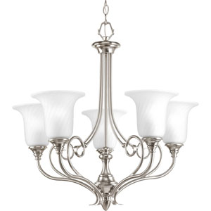 Kensington Brushed Nickel Five-Light Chandelier with Swirled Etched Glass and Trumpet Shaped Shades