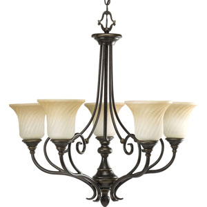 Kensington Forged Bronze Five-Light Chandelier with Frosted Caramel Swirl Glass Trumpet Shaped Shades