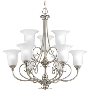 Kensington Brushed Nickel Nine-Light Chandelier with Swirled Etched Glass and Trumpet Shaped Shades