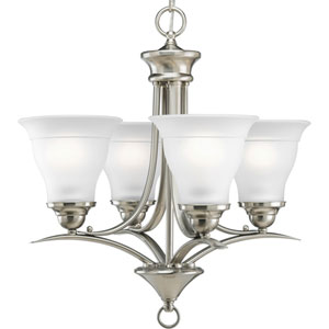 P4326-09:  Trinity Brushed Nickel Four-Light Chandelier
