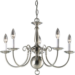 Americana Brushed Nickel Five-Light 23.5-Inch Chandelier with White Finish Candle Sleeves