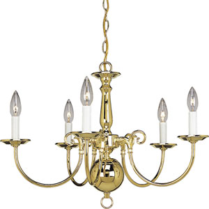 P4346-10:  Americana Polished Brass Five-Light Chandelier