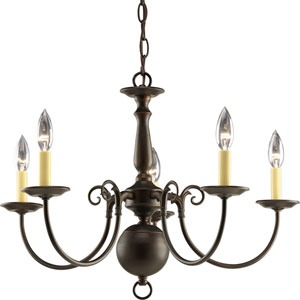 Americana Antique Bronze 16.75-Inch Five-Light Chandelier with Ivory Finish Candle Sleeves