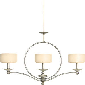 Ashbury Silver Ridge Three-Light Chandelier with Toasted Linen Drum Shades