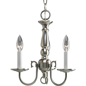 Americana Brushed Nickel Three-Light Chandelier with White Finish Candle Sleeves