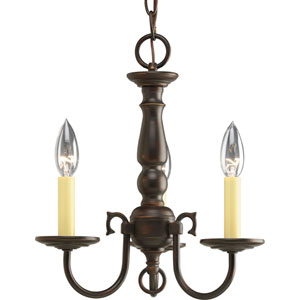 Americana Antique Bronze Three-Light Chandelierwith Ivory Finish Candle Sleeves