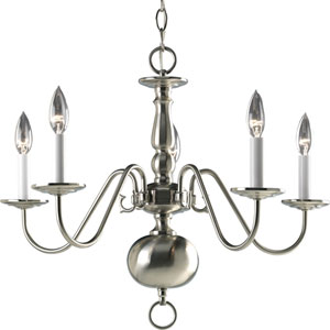 Americana Brushed Nickel Five-Light 24-Inch Chandelier with White Finish Candle Sleeves