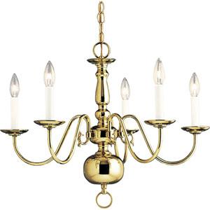 P4355-10:  Americana Polished Brass Five-Light Chandelier