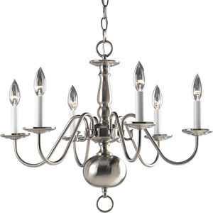 Americana Brushed Nickel Six-Light Chandelier with White Finish Candle Sleeves