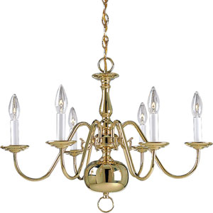 P4356-10:  Americana Polished Brass Six-Light Chandelier