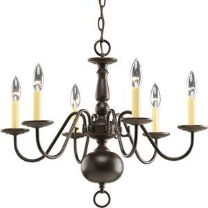 Americana Antique Bronze Six-Light Chandelier with Ivory Finish Candle Sleeves