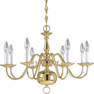 P4357-10:  Americana Polished Brass Eight-Light Chandelier