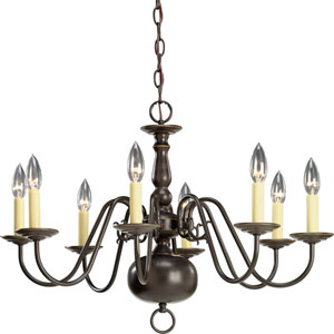 Americana Antique Bronze Eight-Light Chandelier with Ivory Finish Candle Sleeves