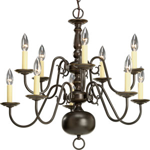 Americana Antique Bronze Ten-Light Chandelier with Ivory Finish Candle Sleeves