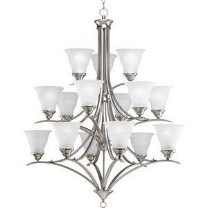Trinity Brushed Nickel 15-Light Chandelier with Etched Glass Shades